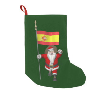 スペインの旗を持つサンタクロース スモールクリスマスストッキング