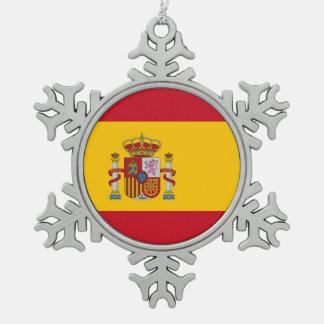 スペインの旗を持つ雪片のオーナメント スノーフレークピューターオーナメント