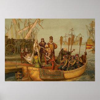 スペインを去っているクリストファー・コロンブス ポスター