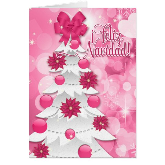 スペイン人のFeliz Navidadのピンクのポインセチアのクリスマス グリーティングカード