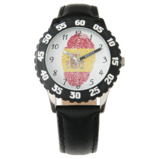 スペイン人のtouchの指紋の旗 腕時計