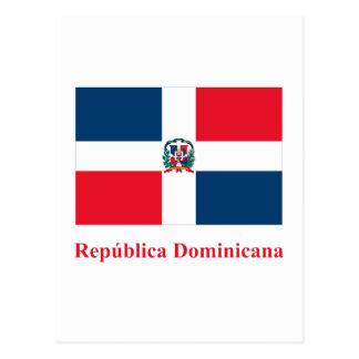 スペイン語の名前のドミニカ共和国の旗 ポストカード