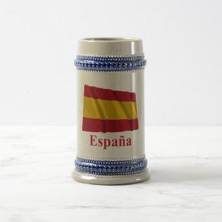 スペイン語の名前の市民旗を振るスペイン ビールジョッキ