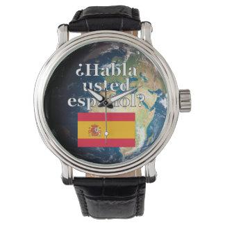 スペイン語を話しますか。 スペイン語。 旗及び地球 腕時計