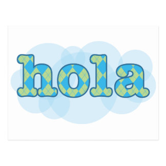 スペイン語-アーガイル柄のなパターンとのHola ポストカード