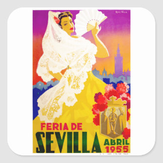スペイン1955年のセヴィル4月の公平なポスター スクエアシール