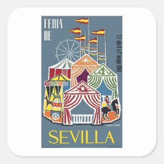 スペイン1960年のセヴィルのフェスティバルポスター スクエアシール