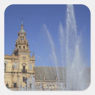 スペイン、セビリア、アンダルシアの噴水および華美 スクエアシール