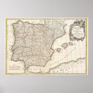 スペイン(1775年)のヴィンテージの地図 ポスター