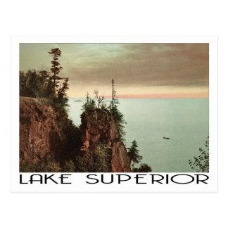 スペリオル湖のヴィンテージ旅行スタイル ポストカード