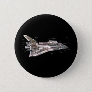 スペースシャトルの断面図 5.7CM 丸型バッジ