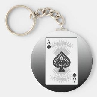 スペードのトランプのポーカーカードのエース: キーホルダー