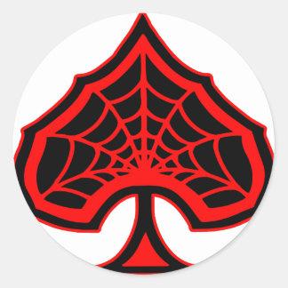 スペードのSpiderwebのエース 丸形シール・ステッカー