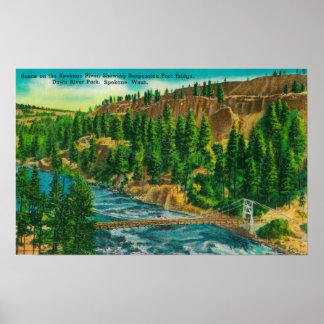 スポケーンの川および懸濁液の足橋 ポスター