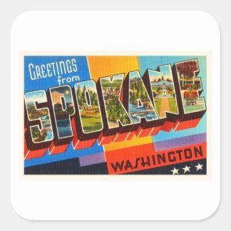 スポケーンワシントン州WAの古いヴィンテージ旅行記念品 スクエアシール