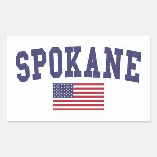 スポケーン米国の旗 長方形シール