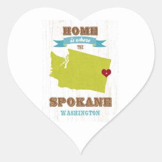 スポケーン、ワシントン州の地図-ところにハートはです家 ハートシール