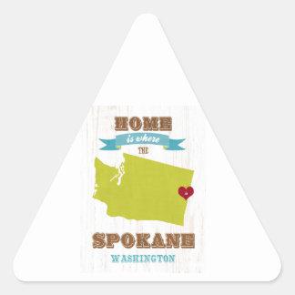 スポケーン、ワシントン州の地図-ところにハートはです家 三角形シール