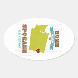 スポケーン、ワシントン州の地図-ところにハートはです家 楕円形シール