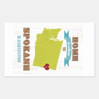 スポケーン、ワシントン州の地図-ところにハートはです家 長方形シール