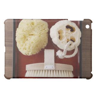 スポンジ、loofah、赤い皿のブラシ iPad miniケース