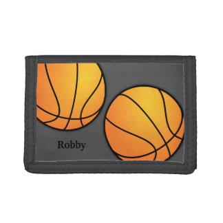スポーツがテーマの灰色の男の子のカスタムなバスケットボールの財布 ナイロン三つ折りウォレット
