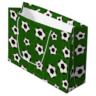 スポーツのサッカーボールタイルを張られたパターンパーティーのバッグ ラージペーパーバッグ