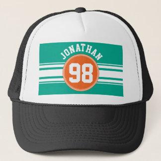 スポーツのジャージーのストライプなエメラルド及びオレンジ一流数 キャップ