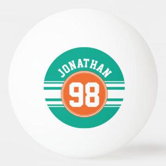 スポーツのジャージーのストライプなエメラルド及びオレンジ一流数 卓球ボール