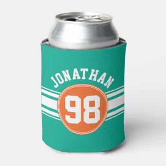 スポーツのジャージーのストライプなエメラルド及びオレンジ一流数 缶クーラー