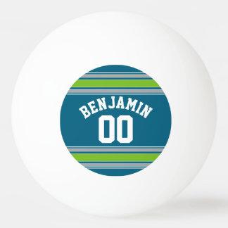 スポーツのジャージーのティール(緑がかった色)および緑のストライプの一流数 卓球ボール