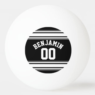 スポーツのジャージーの白黒ストライプの一流数 ピンポン球
