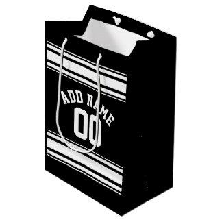 スポーツのジャージーの白黒ストライプの一流数 ミディアムペーパーバッグ