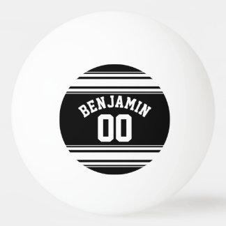 スポーツのジャージーの白黒ストライプの一流数 卓球ボール