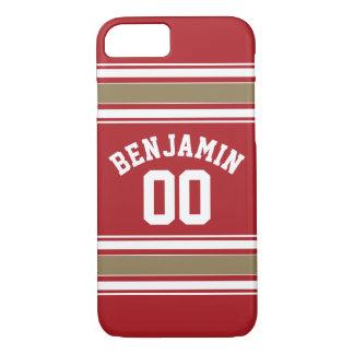 スポーツのジャージーの赤および金ゴールドのストライプな一流数 iPhone 8/7ケース