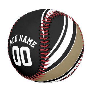 スポーツのジャージーの黒および金ゴールドのストライプな一流数 ベースボール