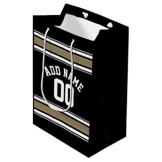 スポーツのジャージーの黒および金ゴールドのストライプな一流数 ミディアムペーパーバッグ