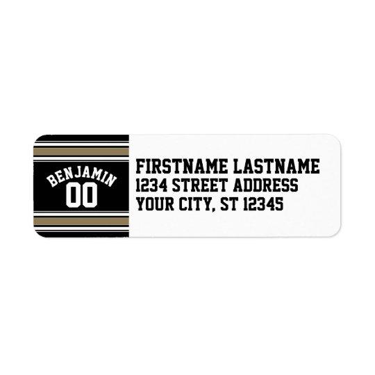 スポーツのジャージーの黒および金ゴールドのストライプな一流数 返信用宛名ラベル