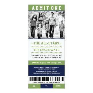 スポーツのチケットの7月4日の招待 カード