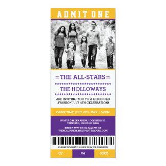 スポーツのチケットの7月4日の招待 10.2 X 23.5 インビテーションカード