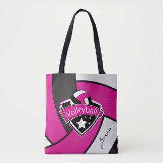 スポーツのバレーボール| DIYの文字-ピンク トートバッグ