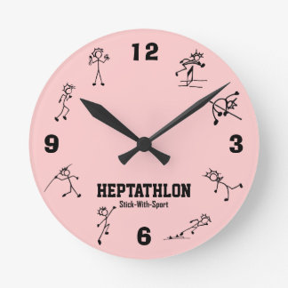 スポーツの七種競技の時計の陸上競技が付いている棒 ラウンド壁時計