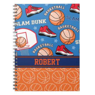 スポーツの名前入りな一流のバスケットボールファンパターン ノートブック