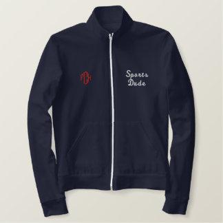 スポーツの男の運動麻薬常習者の海軍によって刺繍されるワイシャツ 刺繍入りジャケット