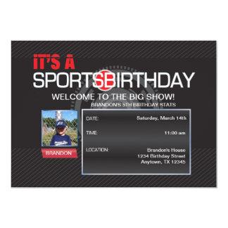 スポーツの誕生日の写真の招待状 12.7 X 17.8 インビテーションカード