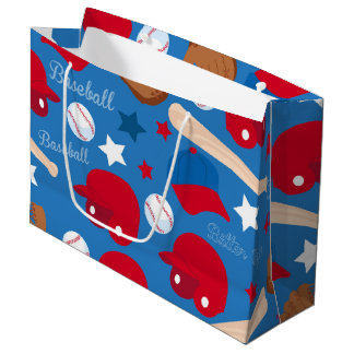 スポーツの野球用グラブのこうもりのおもしろいのカラフルパターン ラージペーパーバッグ