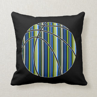 スポーツの青緑のストライプのなバスケットボールの枕 クッション