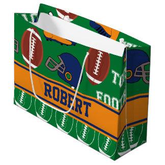 スポーツは子供のためのフットボールパターンを個人化します ラージペーパーバッグ