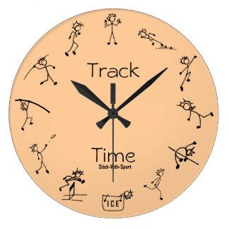 スポーツトラック時間10種競技の時計が付いている棒 ラージ壁時計
