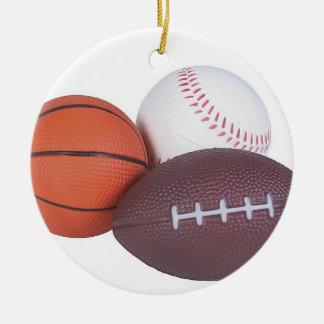スポーツ・ファンのギフトのアイディアはプレーヤーのクリスマスのクリスマスを遊ばします 陶器製丸型オーナメント